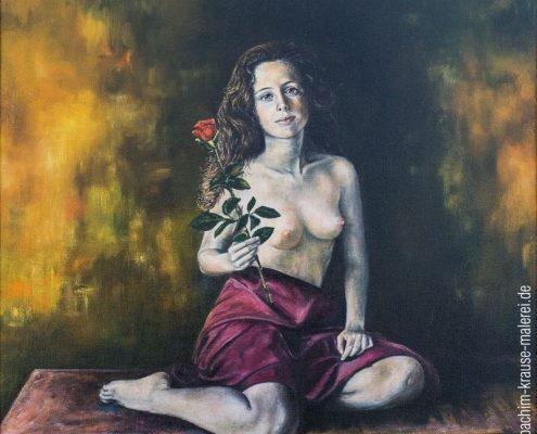 Mädchenakt mit Rose