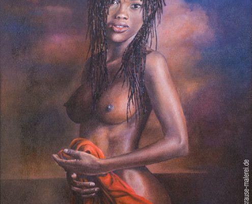 Afrikanerin mit rotem Tuch