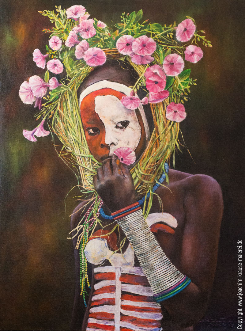 Afrikanerin mit Blumenkranz