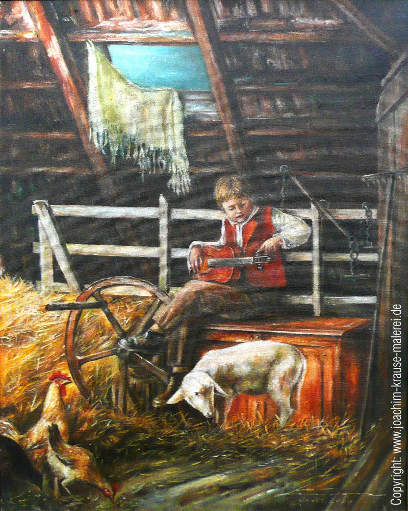 Junger Musiker auf dem Heuboden