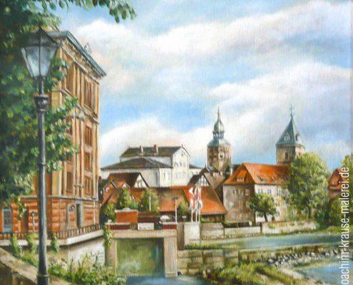 Wesermühle mit Blick auf die Münsterkirche Hameln