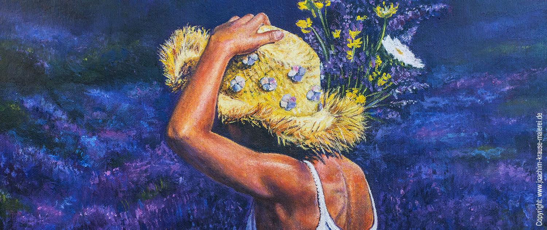 Frau im Lavendelfeld - Ausschnitt