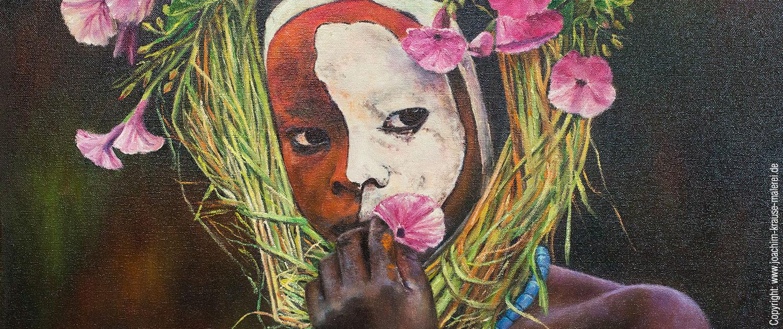 Afrikanerin mit Blumenkranz - Ausschnitt